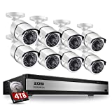 ZOSI 16 Channel 1080p Security System,16 Channel DVR 4TB (Hard Drive) Full HD 1080p Hybrid Recorder and 8 Outdoor/Indoor CCTV Bullet Camera 1080p with 100ft Long Night Vision and 105°Wide Angle (Color: 16CH+8Cameras+4TB)