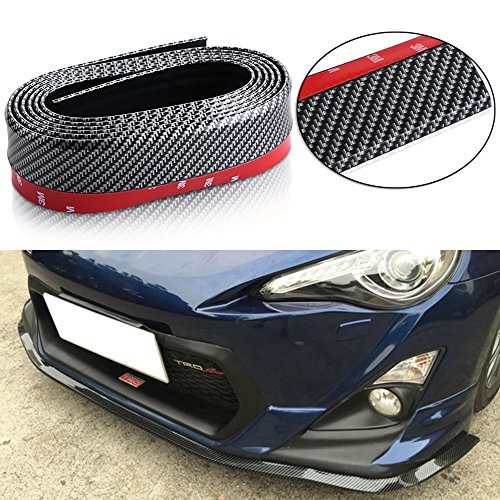 9 MOON 8.2 feet (2.5 meters) gm carbon-fiber front bumper spoiler lip, Roof Spoiler, body kit clip stickers, 100% waterproof protection (Prelude Rear Diffuser compare prices)