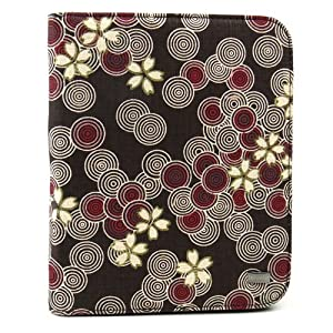 JAVOedge Cherry Blossom Book Case for the Barnes & Noble Nook Touch Reader / GlowLight (Cocoa Brown) - Latest Generation