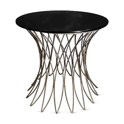 NEU. klein Triumph Tisch mit Schwarz Glas–antik Gold
