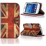 Kit Me Out FR Étui à rabat avec imprimé cuir synthétique pour Samsung Galaxy Trend Lite S7390 S7392 - rouge / blanc / bleu Drapeau UK drapeau britannique