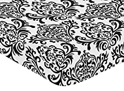 Hot Pink, Black and White Isabella Fitted Crib Sheet for Baby/Toddler Bedding Sets by Sweet Jojo Designs - Damask Print