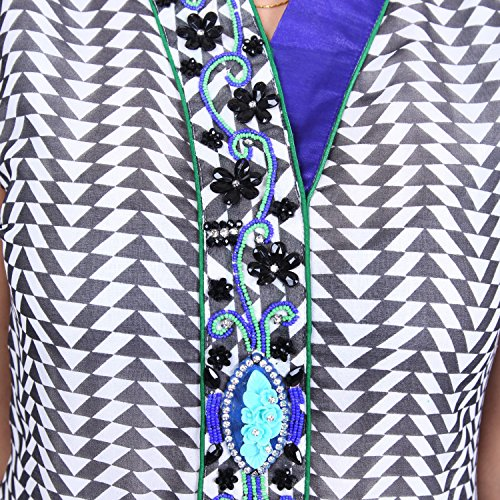 India Colors Geometrical Printed Georget With A Tie And Die Effect