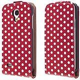 ECENCE 32030202 Handytasche für Samsung Galaxy S4 mini i9195 i9190 Etui Hülle flip case Schutzhülle in Rot Weiss gepunktet im Retro Style Punkte