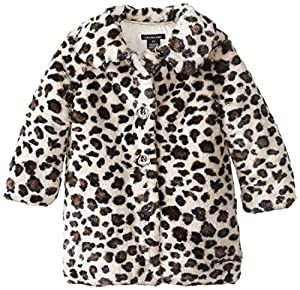 Calvin Klein Little Girls'  Animal Print Faux Fur Coat, Brown, 6X