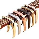 ZEALUX Multifunctional Guitar Capo for Guitars, Ukulele, Banjo, Mandolin, Bass. Ultra Lightweight Aluminum Metal for 4 & 6 & 12 String Instruments - Premium Accessories (Rose Gold) (Color: Rose Gold)