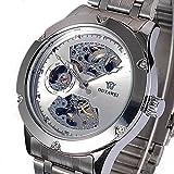 Neu Luxus Silber Skelett Analog Herren Mechanische Automatische Armband Uhr
