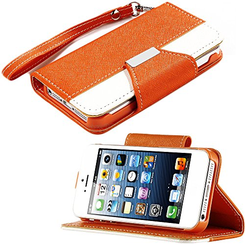 Mylife (Tm) Orange And White Classic Fashion Design - Textured Koskin Faux Leather (Card And Id Holder + Magnetic Detachable Closing) Slim Wallet For Iphone 5/5S (5G) 5Th Generation Itouch Smartphone By Apple (External Rugged Synthetic Leather With Magnet