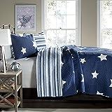 Lush Decor Star 3-Piece Quilt Set, King, Navy