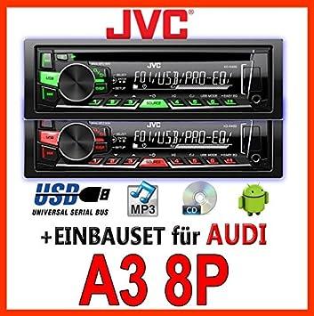 AUDI a3 8P jVC-kD-r469E cD/mP3/uSB avec kit de montage