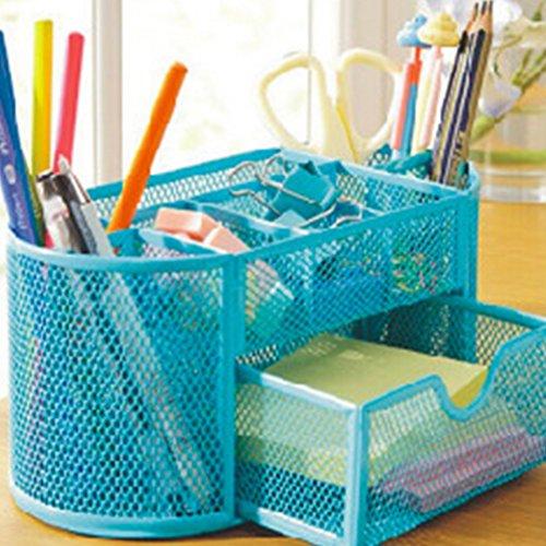 Candora TM Organizer da scrivania, porta penna in rete forniture per ufficio in metallo scatola Cestino con 9pezzi blue