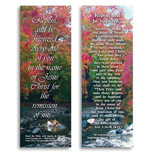 Repent e essere Baptized-Confezione di 25 biglietti, 2 x 15 cm