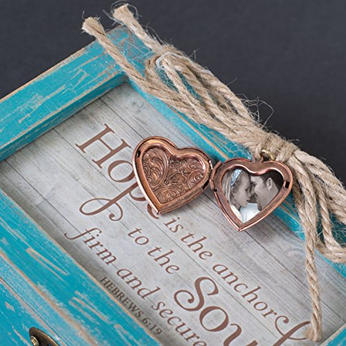 Faith Makes All Things Possible Teal Wood Locket Jewelry Music Box Plays Tune Amazing Grace 5