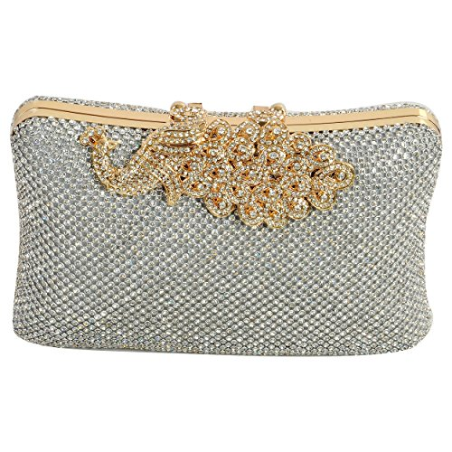ELEGANT-PREMIUM-DOUBLE-SIDED-EVENING-CLUTCH-BAG-WITH-PEACOCK-HANDLE-PATTERNED-RHINESTONE-GLITTERS-DIAMONDS-AND-ADJUSTABLE-SHOULDER-CHAIN-SNAP-CLOSURE-SMOOTH-INNER-SATIN-hard-box-shiny-fashionable-part