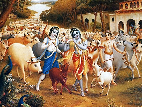 Tallenge - Krishna And The Cowherd Boys Leave For The Forest - A3 Size Rolled Poster