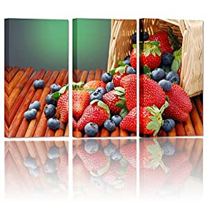 Fruit Strawberry Canvas Wall Art Prints Picture For Dessert Hous