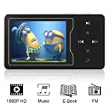 RUIZU D08 MP3/MP4 Video Player, High Resolution Screen, 1080p Full HD Video, FM Radio, Built-in Speaker, Touch Button, Up to 128GB Expandable, Black (Color: Black)