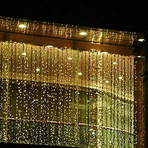 BinTeng 300led Window Curtain Icicle Lights String Fairy Light Wedding Party Home Garden Decorations 3m*3m (Warm White)