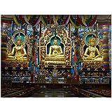 Racoon Gautama Buddha, Padmasambhava And AmitÄyus - Golden Statues Poster Laminated Glossy Finish, Large (36 X...