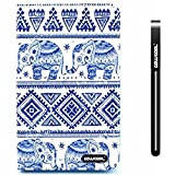 CowCool® Galaxy Tab 3 Case, Samsung Galaxy Tab 3 Lite 7.0 Case, Design Blue and white porcelain Geometry with Elephant PU Leather Hand Stitching Wallet Stand Kickstand Cover for Samsung Galaxy Tab 3 7.0 inch T110 Tablet (Style5)
