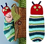 Crochet Baby Girl Boy Hat Very Hungry Caterpillar Costume Cocoon Set Photo Props 3 to 6 Months