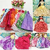 Beautiful Elegant Handmade Party Weeding Gown Dress Fashion Cloth For Barbie Doll (1 PC)