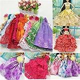 Beautiful Elegant Handmade Party Weeding Gown Dress Fashion Cloth For Doll (5 PCS)