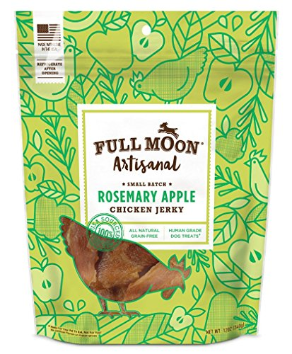 Full Moon Artisanal All Natural Human Grade Jerky Dog Treats, Rosemary Apple Chicken, 12 Ounce (Full Moon Chicken Jerky For Dogs compare prices)
