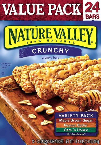 Nature Valley Crunchy Granola Bars, Variety Pack of Oats 'n Honey, Peanut Butter, and Maple Brown Sugar, 24-Count Boxes (Pack of 6)