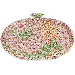 Fawziya® Round Shape Floral Clutch Purses For Women\' s Clutches-Green