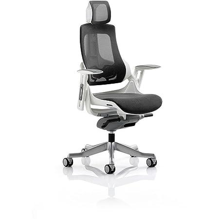 Dinámico kc0162zure Ejecutivo de malla silla con reposabrazos y reposacabezas, color gris oscuro