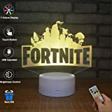 BOPU 3D Visual Lamp Optical Illusion LED Night Light, Amazing 7 Colors FORTNITE Shape Touch Sensitive Switch Lamps with Acrylic Flat, USB Charge for Home Decor (A) (Color: Fortress)