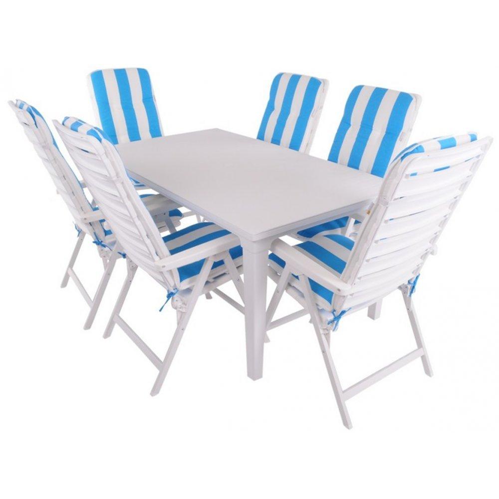 JUSThome Alpin Gartenmöbel Sitzgruppe Gartengarnitur Set 6x Stuhl + Tisch Blau Weiß bestellen