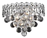 Elegant Lighting 1901W12C/RC Century 6-Inch High 2-Light Wall Sconce, Chrome Finish with Crystal (Clear) Royal Cut RC Crystal