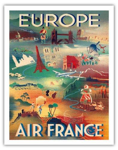 principaux-monuments-deurope-europe-air-france-airline-affiche-vintage-de-voyage-vintage-airline-tra
