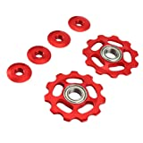VORCOOL Mountain Bike Derailleur Pulley 2PCS 11T Aluminum Sealed Bearing Bicycle Wheel Pulley Rear Derailleur Pulley (Red)