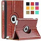 SAVEICON (TM) 360 Degrees Rotating Crocodile Skin PU Leather Case Smart Cover with Stand and Sleep/Wake Function for Apple iPad 4 with Retina Display, iPad 3, iPad 2 (Brown)