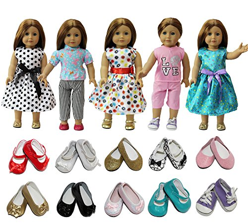 Zita Element Doll Clothes Lot 7 Daily Costumes Gown Clothes Shoes Fit For American S Girl Doll And Other 18 Inches Xmas Gift Ramdon Style