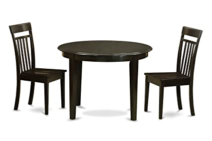 East West Furniture BOCA3-CAP-W 3-Piece Kitchen Nook Dining Table Set, Cappuccino Finish