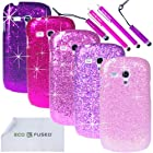 ECO-FUSED 12 pieces Bling Sparkle Hard Cover Case Bundle for Samsung Galaxy S III MINI I8190 (T-Mobile , AT& T) /5 Sparkle Hard Cover Cases (Dark Purple/Purple/Hot Pink/Pink/Light Pink)/4 Stylus (Hot Pink/Purple)/2 Screen Protectors - ECO-FUSED Microfiber Cleaning Cloth included