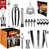 Bar Set 17-Pieces Jumbo Bartender Kit – Premium Cocktail Set Mixology Kit for Bar and Home - All-In-One Cocktail Shaker Set - Bartender Mixology Barware Set for Men and Women - Bar Tools Martini Kit