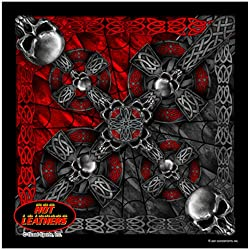 """Hot Leathers Bikers Bandanas Collection Original Design, 21"""" x 21"""" - BANDANA CELTIC CROSS & GOTHIC SKULLS by Officially Licensed & Trademarked Products"""