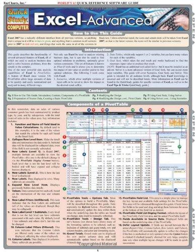 Excel Advanced (Quickstudy: Computer)