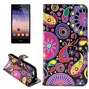 Crazy4Gadget Acaleph Pattern Horizontal Flip Leather Case with Holder & Card Slots for Huawei Ascend G7