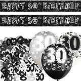 Kit de décoration de fête Noir et Argent 30 ans avec bannière avec fanions