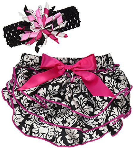 Stephan Baby Ruffled Diaper Cover and Curly Band Gift Set, Little Diva Hot Pink and Black, 6-12 Months