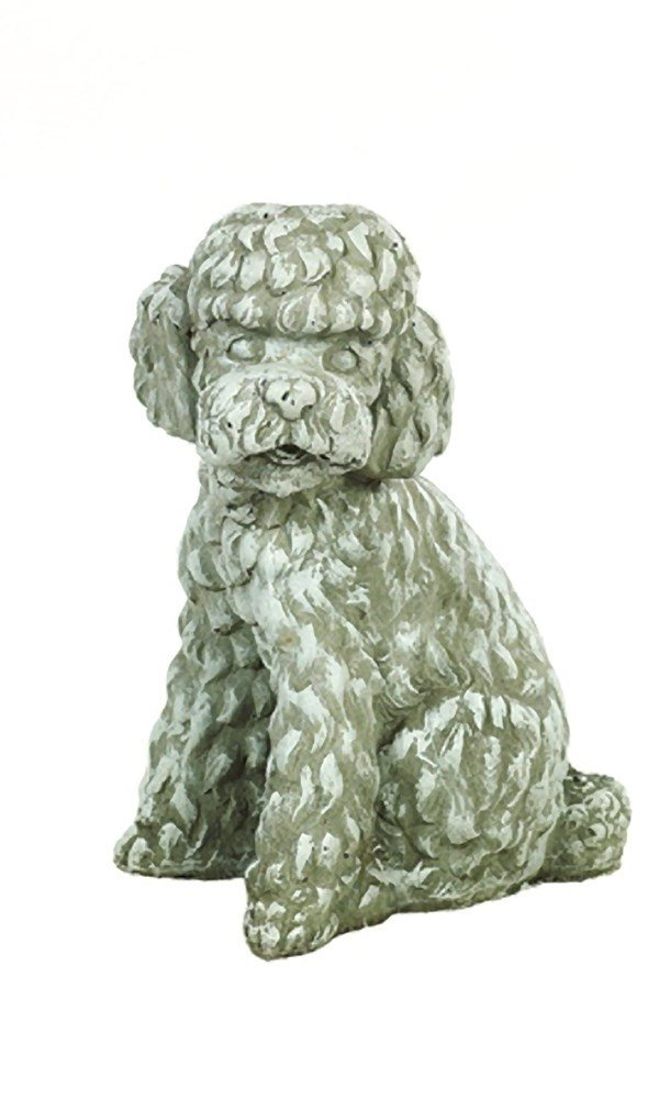 Solid Rock Stoneworks Long Hair Poodle Dog Stone Statue 12in Tall Marble Tone Color