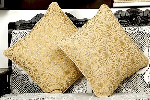 Silver Gold Embroidered Beige Cushion Cover (Pack of 2) By Dekor World