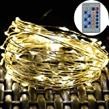 Luoful LED Copper Wire Starry String Lights Waterproof Dimmable with Wireless Remote Control for Garden - Patio - Party - Wedding - Xmas Decoration - Indoor and Outdoor Decor (33ft 100 LED Warm White)