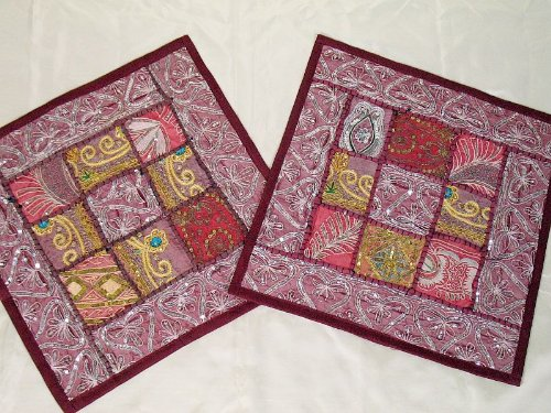 2 India Maroon Vintage Bedroom Decor Pillows Cushions